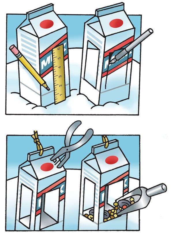 Bird Bistro: instructions for making a milk carton bird feeder.