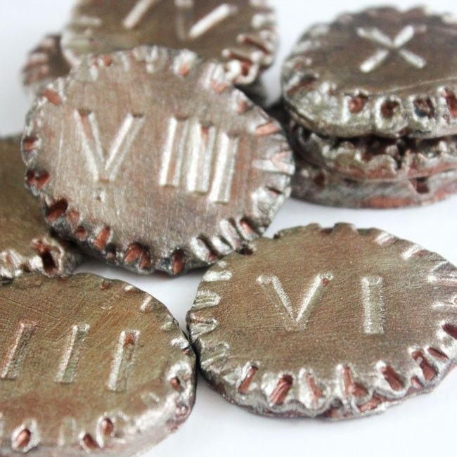 Make these pretend play ancient coins and introduce kids to roman numerals