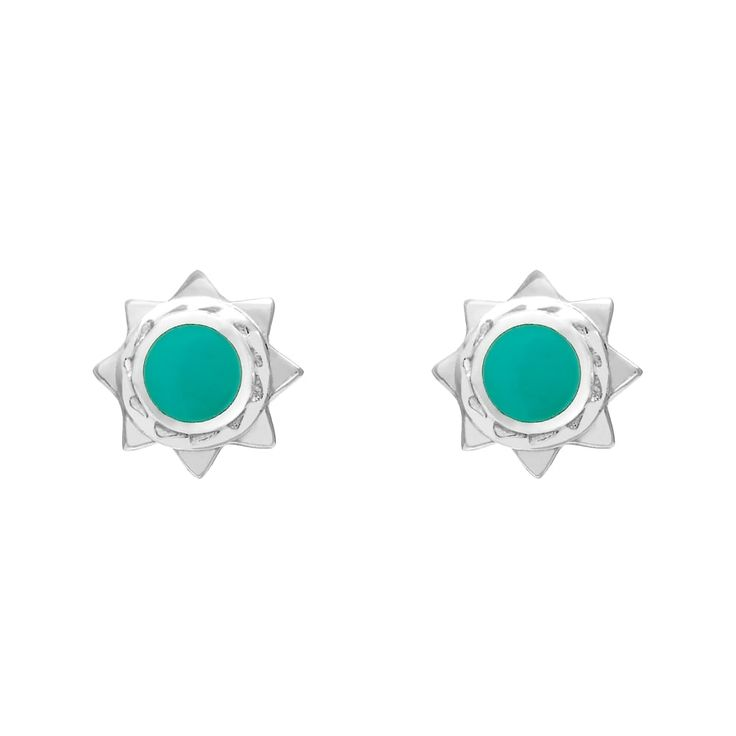 John Greed Sterling Silver & Imitation Turquoise Sun Studs | John Greed Jewellery
