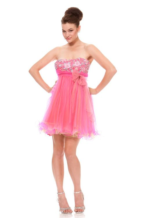 Pink Tulle with A Floral Accent Top $106