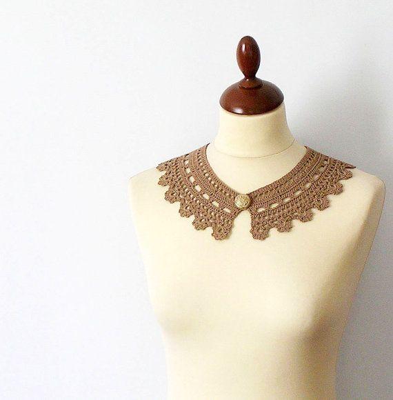 Cinnamon Lace Collar Camel Necklace Irish Style by callmemimi on Etsy.