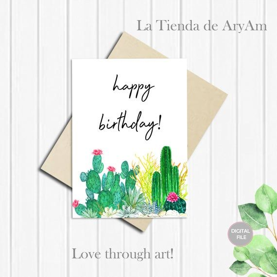 Lookin/' Sharp Instant Download Birthday Card Cactus