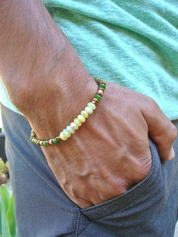 Men's Good Fortune and Love Bracelet with Semi by tocijewelry