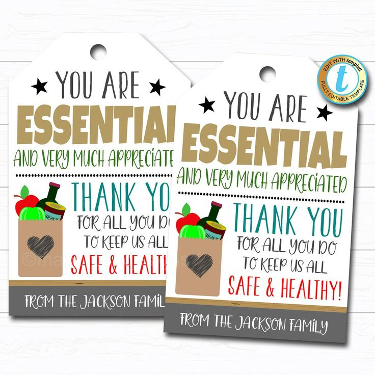 Essential workers appreciation gift tag thank you gift