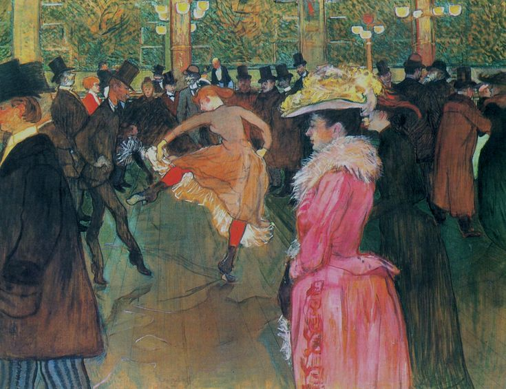 At the Moulin Rouge, The Dance by Henri de Toulouse-Lautrec.  Estos colores que hacen sentir el movimiento
