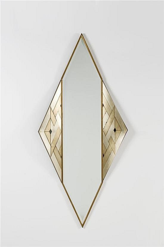 lorenzo burchiellaro // copper and brass 'losanga' wall mirror // 1988.