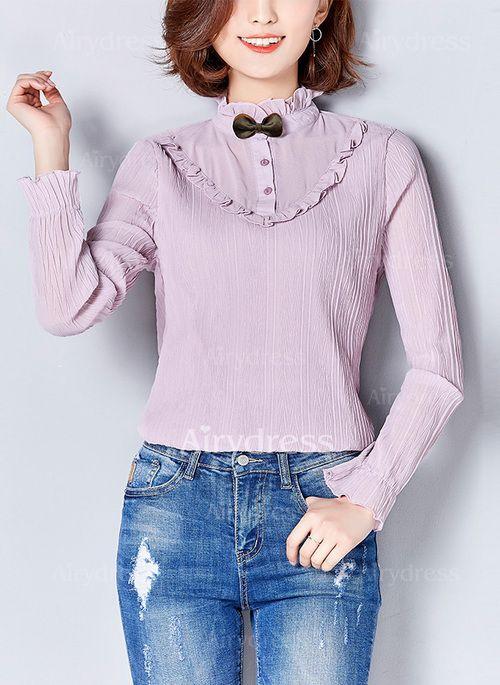 Llanura Casuales Poliéster Escote alto Manga larga Camisas (1035908) @