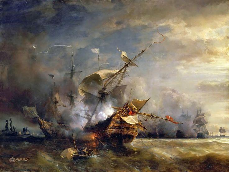 Théodore Gudin - Naval Combat off Cape Lizard in Cornwall, October 21. 1707 | Arash Noorazar Virtual Art Gallery  #18th #boat #Classic #Painting #sea #ship #Théodore #Gudin