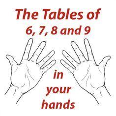 de tafels 6,7,8 en 9 op je handen... makkelijker dan domweg rijtjes leren.