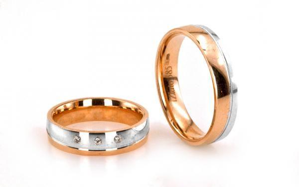 Svadobné obrúčky romantické s viacfarebného ružovo bieleho zlata