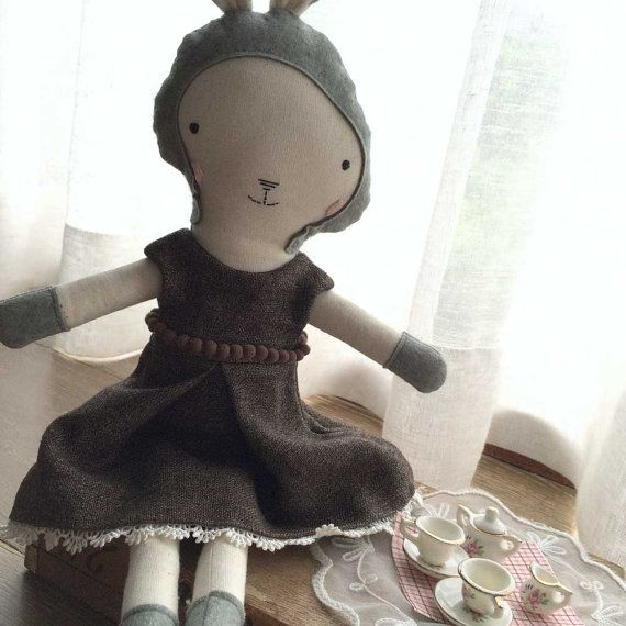 Cloth Fabric Stuffed Rag Doll Toy Bunny Girl by florieandmillie