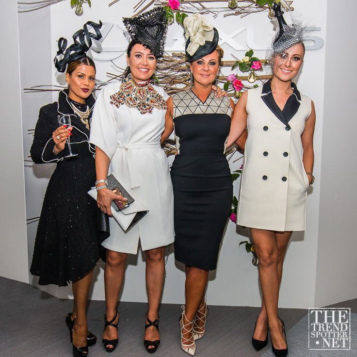 Derby Day 2014 - The Real Housewives of Melbourne, Lexus Marquee. From left to right; Pettifleur Berenger wears Melissa Jackson hat, New York purchased jacket, Matcho Suba skirt & Bulgari Bag. Lydia Schiavello wears Bul dress, Matcho Suba headpiece & extravagant necklace by Nomik Glynatsis. Chyka Keebaugh, wears Victoria Beckham, Melissa Jackson hat and Adrian Lewis diamonds. Jackie Gillies opts for sleeveless coat dress by label Single White Female and Melissa Jackson hat.
