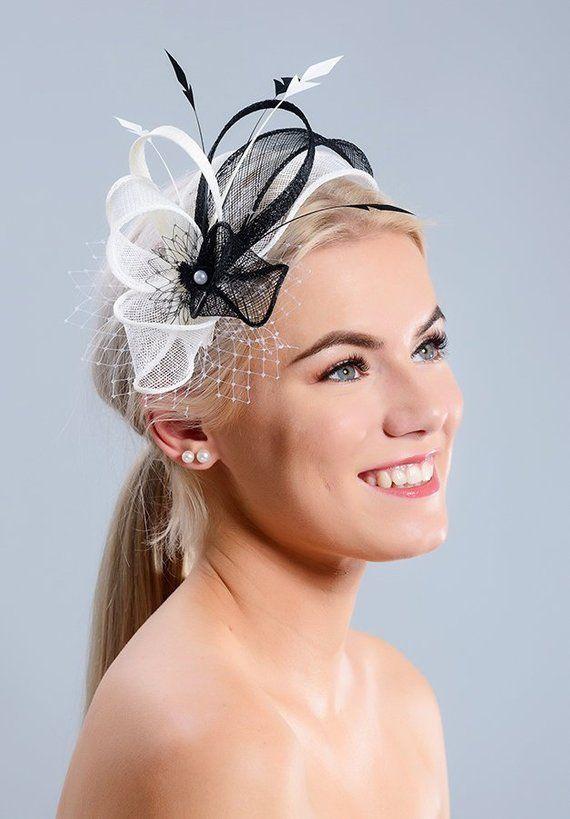 3fb03a55 Black and white wedding fascinator, black and white fascinator with feathers,  black and white leaf fascinator, black and white fascinator