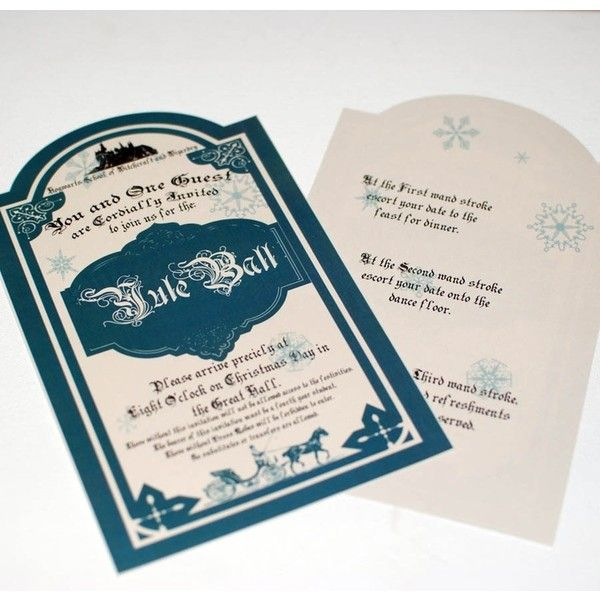 Yule Ball Invitation for Hogwarts, on Christmas day ❤ liked on Polyvore featuring home, home decor, holiday decorations, christmas home decor, christmas holiday decorations and christmas holiday decor