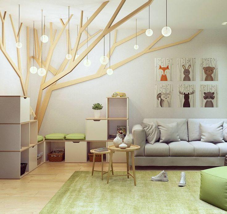 (^o^) Kiddo (^o^) Design - Игровая комната с деревом в прямом и переносном смысле☺ #детская #игровая #интерьер #интерьердетской #дизайн #дизайнинтерьера #визуализация #рендер #interiorideas #interiordesign #kidsroom #wood #tree #дерево