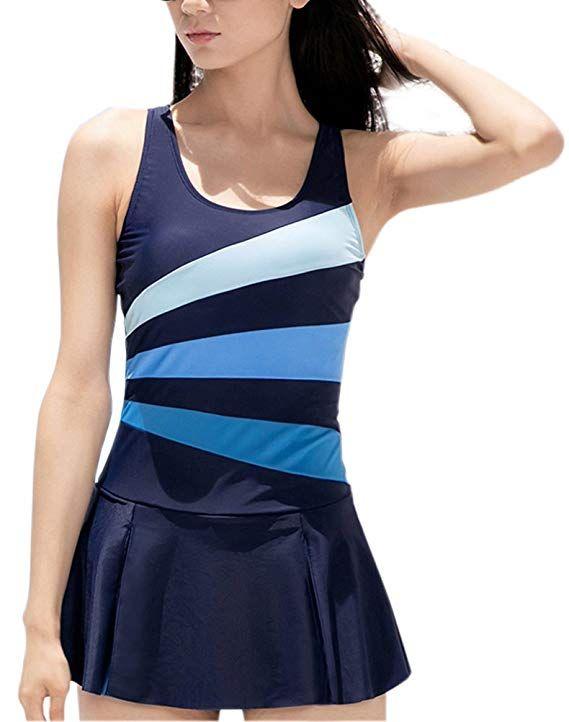 6fa7fb21df62c Women's One Piece Swimming Suit Slimming Bathing Suit Tummy Control Swim  Dress Blue Large