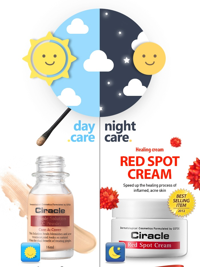 [Ciracle] Super Trouble Care Kit : CC Powder + Red Spot Cream  BEAUTY STEAL ! TO BE MORE BEAUTIFUL, JUST GET IT. SUPER TROUBLE CARE KIT is BACK ! Ciracle Pimple Solution CC Powder & Red Spot Cream Set15% DISCOUNT ! (DISCOUNTED PRICE : USD 34.99 USD 29.70)  For Day care : Pimple Solution CC Powder (16ml) For Night Care : Red Spot (Healing) Cream (30ml) by $29.70