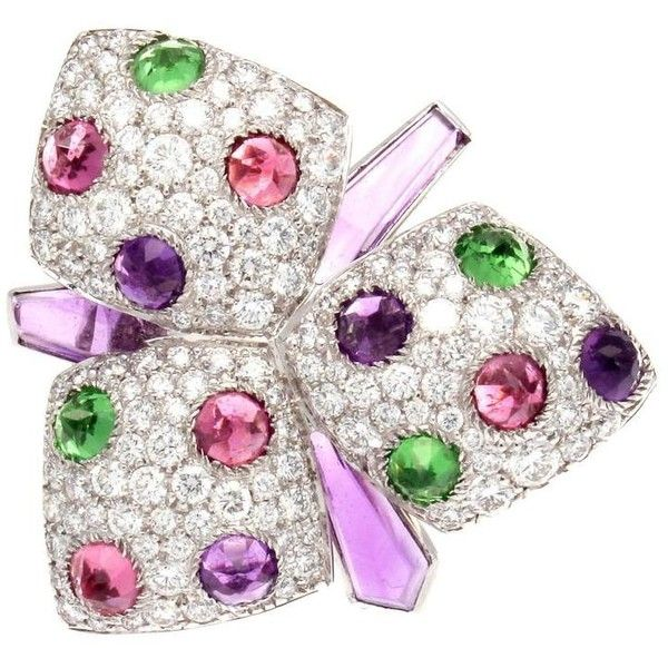Preowned Cartier Orchid Amethyst Garnet Rubelite Diamond Gold Ring ($16,500) ❤ liked on Polyvore featuring jewelry, rings, purple, diamond rings, gold garnet ring, gold ring, garnet rings and flower diamond ring