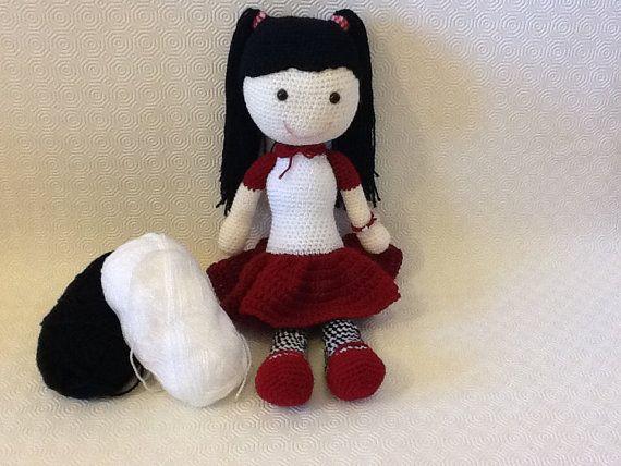 Brunette amigurumi doll with skirt by EvalestAmigurumi on Etsy
