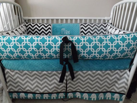 Teal elephant baby bedding