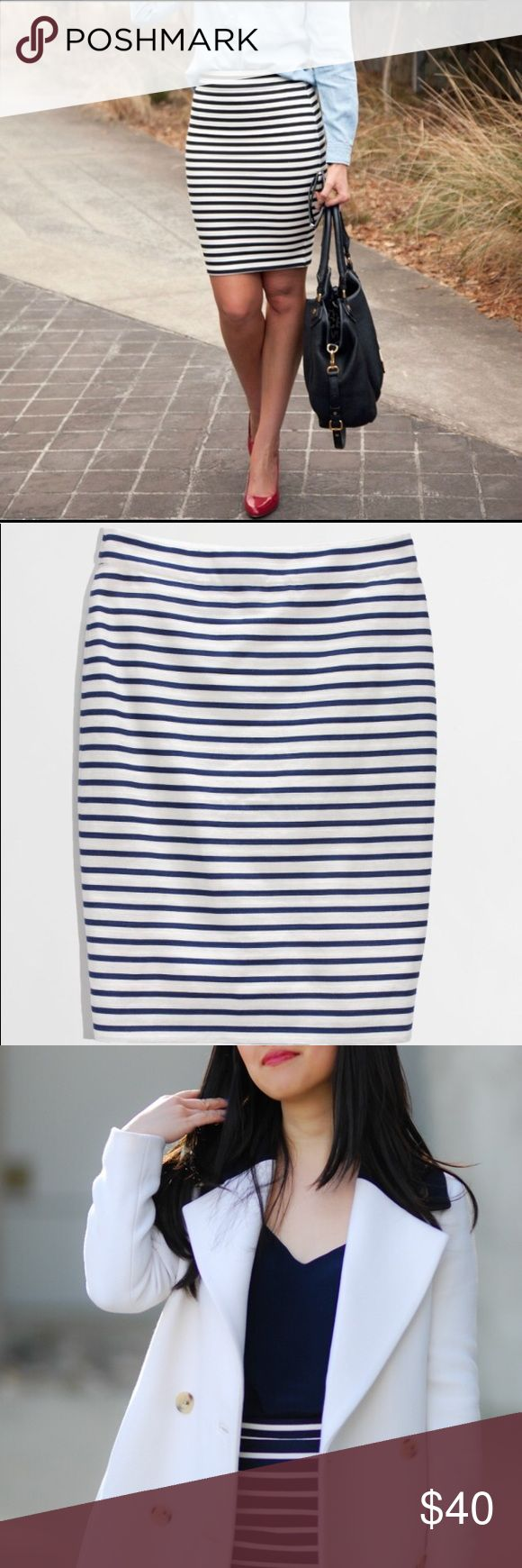 """J. Crew Pencil Skirt in Blue/White Nautical Stripe Form fitting. So sexy with a blouse & pumps. Only worn once & in brand new condition.  Cotton/linen. Sits at waist. 21 1/2"""" long. Back zip. Back vent. Lined. Machine wash. Import. Item 51764. J. Crew Skirts Pencil"""