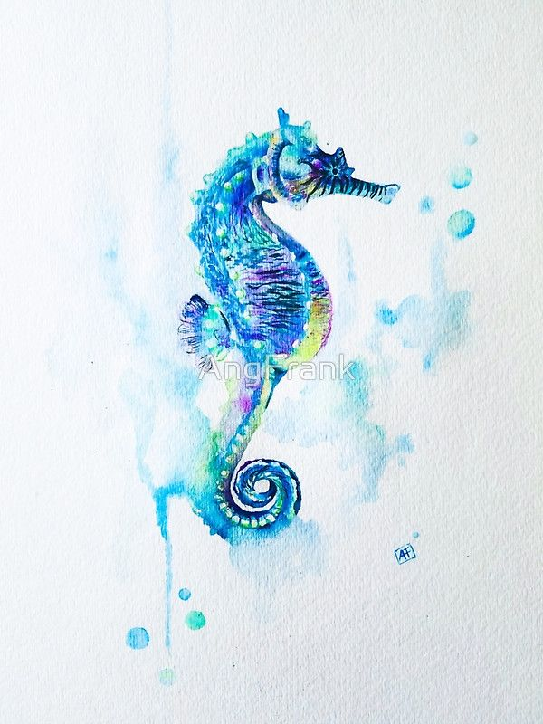 Watercolor Seahorse by Ang Frank on redbubble