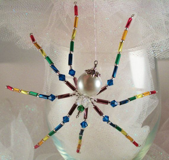 Rainbow Glass Beaded Spider Ornament and Sun by Thespiderlady, $8.00