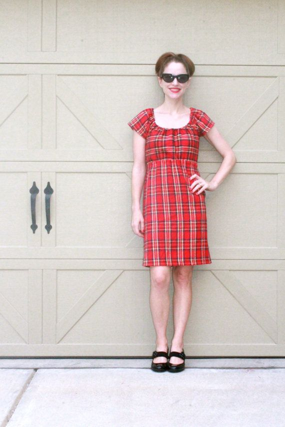 Red Flannel Dress Warm Winter Dress Knee by SweetHomeBoutique, $80.00