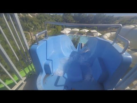 Lykia World Antalya Turkey Aquapark - Blue Water Slide Run - fastest waterslide in the resort