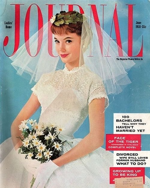Bridalwear on the cover of Ladies' Home Journal, June 1958.