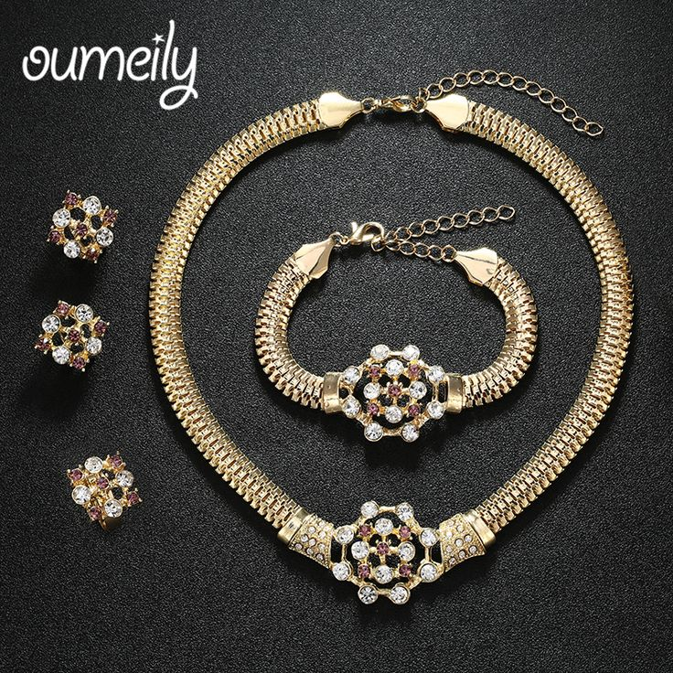 OUMEILY Imitation Crystal African Beads Jewelry Sets Gold Plated Bridal Wedding Accessories Necklace Bracelet Earrings Rings Set