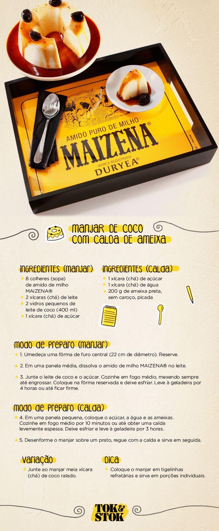 Receita de manjar de coco com calda e a bandeja da nossa parceria com MAIZENA®.