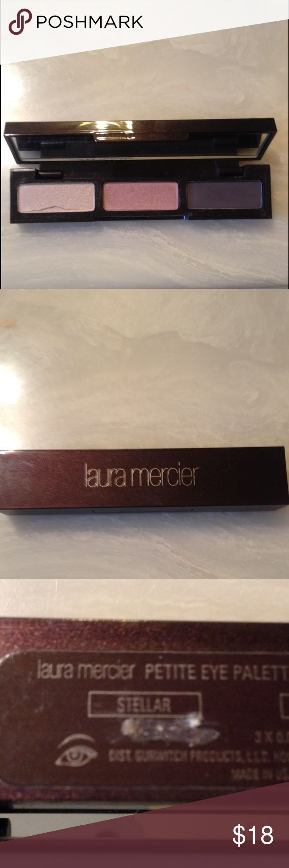 Laura Mercier Eyeshadow Palette Laura Mercier Petite Eyeshadow Palette. Colors are Stellar, Primrose, Black Plum. There is a small chip in stellar. Please see my other items for more great makeup from brands like MAC, Stila, Bare Minerals, Laura Mercier, Cargo, Makeup Forever. I love reasonable offers and bundles. GWP with 2 items New Bare Minerals Lipgloss. With 3 items Cargo Eyeliner in Black Sea. 😺 Laura Mercier Makeup Eyeshadow