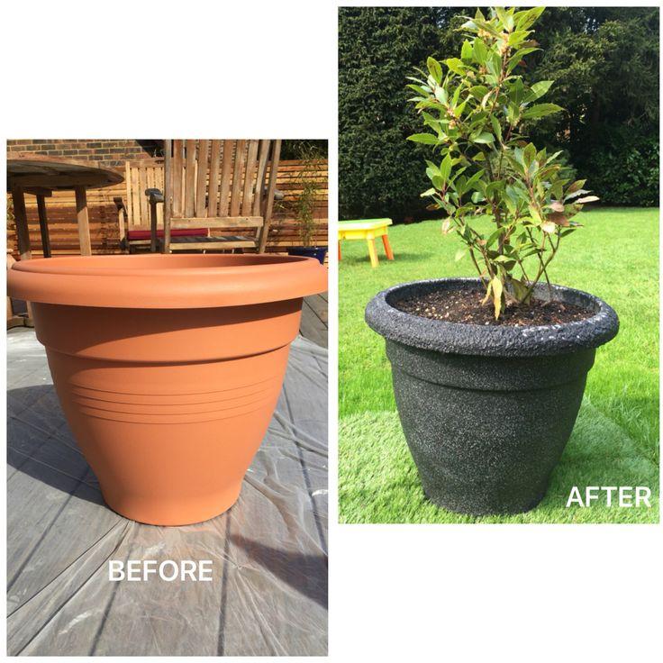 Plastic Plant Pots Part - 33: Plastic Plant Pot Sprayed With Stone Effect Paint.