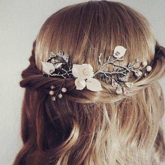 Bridal hair vine, wedding hair vine, freshwater pearls, bridal hair comb pearl silver, silver wedding accessories, rose, peony, dahlia