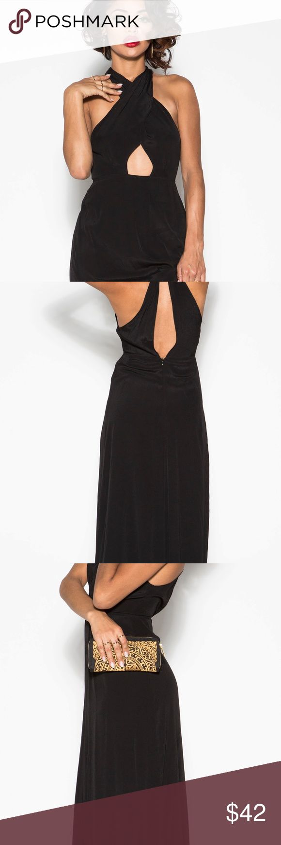 Elegant Maxi Dress Play peek a boo with the strategically placed slits and cut outs Peek front slit, exposing just the right amount of leg  Deep-v halter neckline Criss-crossed back strap detail (elegantly exposes the back)  available in BLACK or ORANGE (Rustic) Dresses Maxi