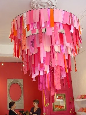 Shabby Fabric Chandelier - I like the blogger's take on colors/fabrics better (blues, laces, creams, muslin - with ragged edges) - but this is a really cool idea for a #ShabbyChic room and very simple to make - by ReMadeSimple - tå√