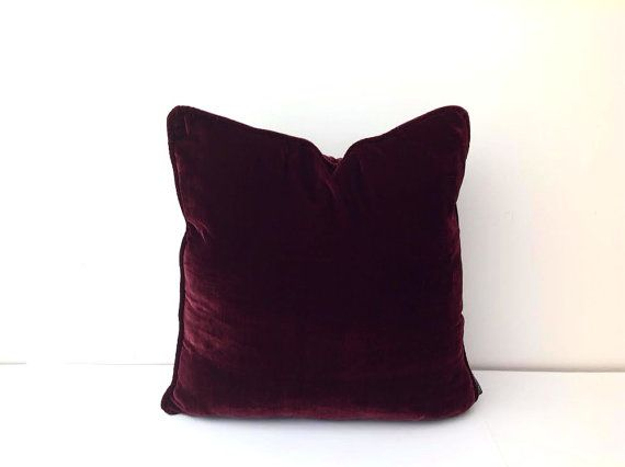 #Burgundy Silk #Velvet Throw #Pillow Cover, Burgundy #Cushion with Burgundy Piping, Free ...