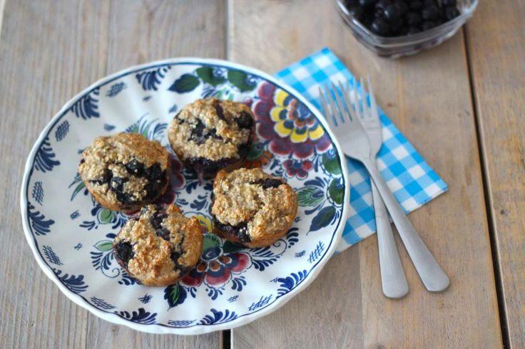 Suikervrije muffins met blauwe bessen