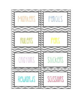 These are classroom labels with pastel colored print with a grey chevron background. Use to label bins, baskets, folders, etc.