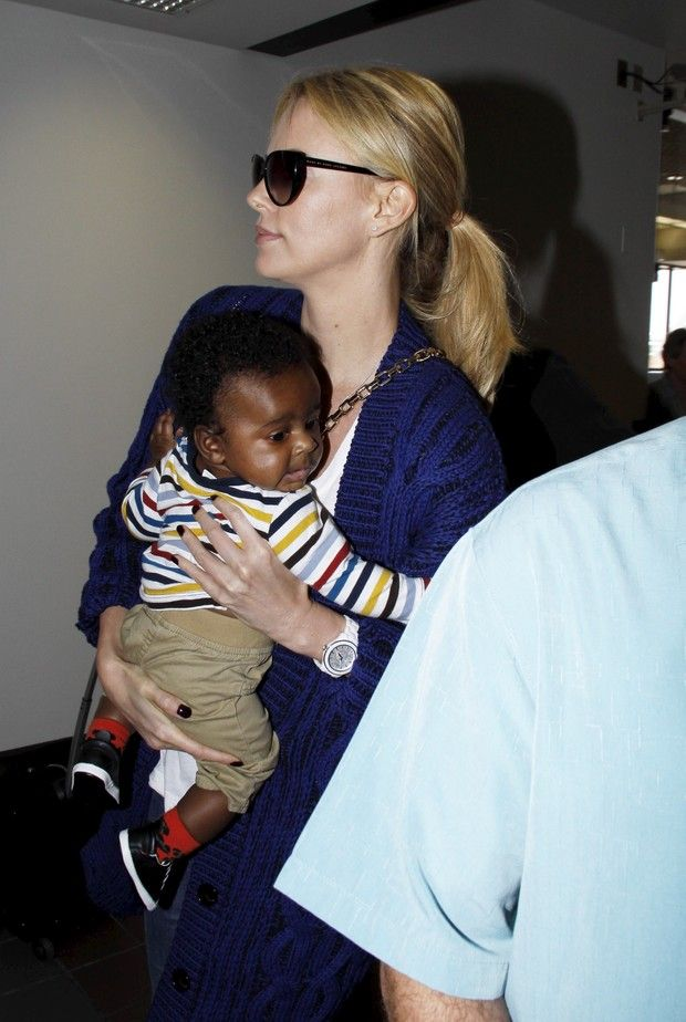 Charlize and Jackson Theron! So cute!