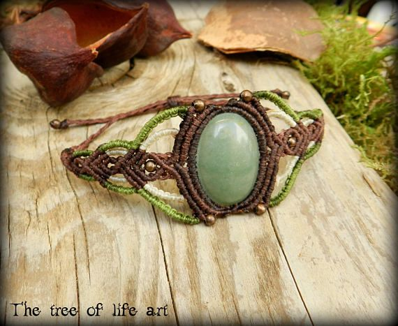 Macrame bracelet with green Aventurine stone and copper metal