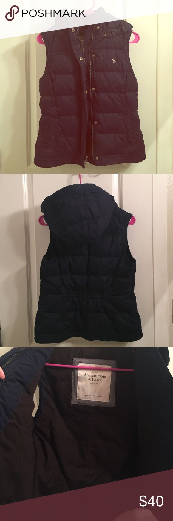 Abercrombie and Fitch down vest Excellent condition! Like new, navy down Abercrombie and Fitch vest with removable hood. Abercrombie & Fitch Jackets & Coats Vests