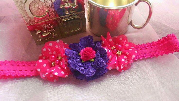 Picot Elastic Lace Headband - Fuchsia White Polka Chiffon Flowers, Babies, Young Girls - Shipping Included by MaPetiteDiva on Etsy