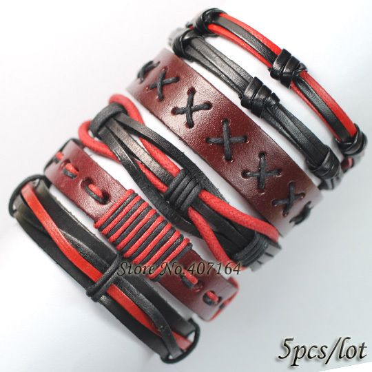 FL1- 5PCS red carter bracelets&bangles handmade wrap genuine real leather bracelets for women girl Pulseira De Couro Feminina