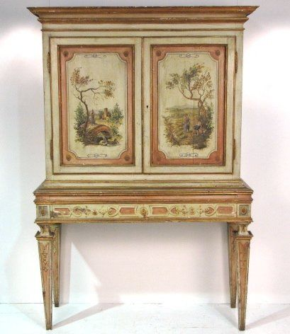 19th Century Italian Paint Decorated Cabinet