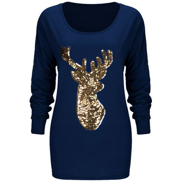 Round Neck Glitter Christmas Reindeer Long Sleeve T-Shirt ($21) ❤ liked on Polyvore featuring tops, t-shirts, round neck t shirt, long sleeve tees, long tee, long-sleeve crop tops and long t shirts