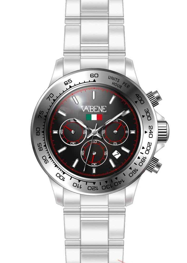 Product Description Case size: 40mm diameter Swiss made quartz battery movement Silver round dial with indices Silver plastic polycarbonate case Silver acrylic bracelet with locking clasp Fixed stainless steel bezel Date calendar function Mineral glass crystal Water resistant to 50atm Limited Edition https://www.amazon.co.uk/Vabene-Chrono-Collection-Watch-CH901/dp/B01GICDU0U/ref=sr_1_8?s=watch&ie=UTF8&qid=1464881204&sr=1-8&keywords=VABENE