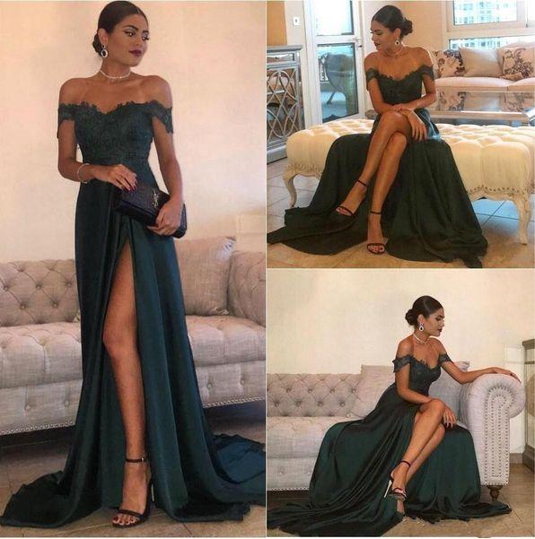Floor-Length Split Off-the-Shoulder Lace Elegant Long Evening Dress