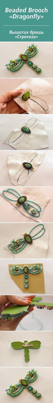 DIY - Broche libélula bordado